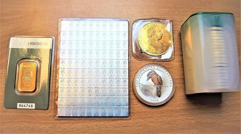 Physische Edelmetallanlage Goldbarren 10gr Silbermultibarren 50gr_Muenzen_1Tube_US-Eagle
