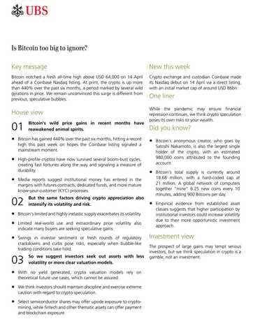 UBS Bitcoin