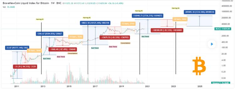 Bitcoin USD 10 Jahre log mit Bewegungen