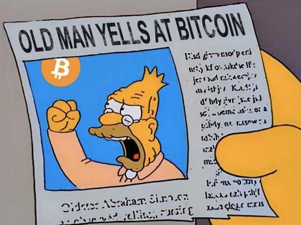 Old man yells at Bitcoin meme