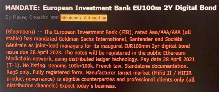 EIB 100m bond Ethereum chain